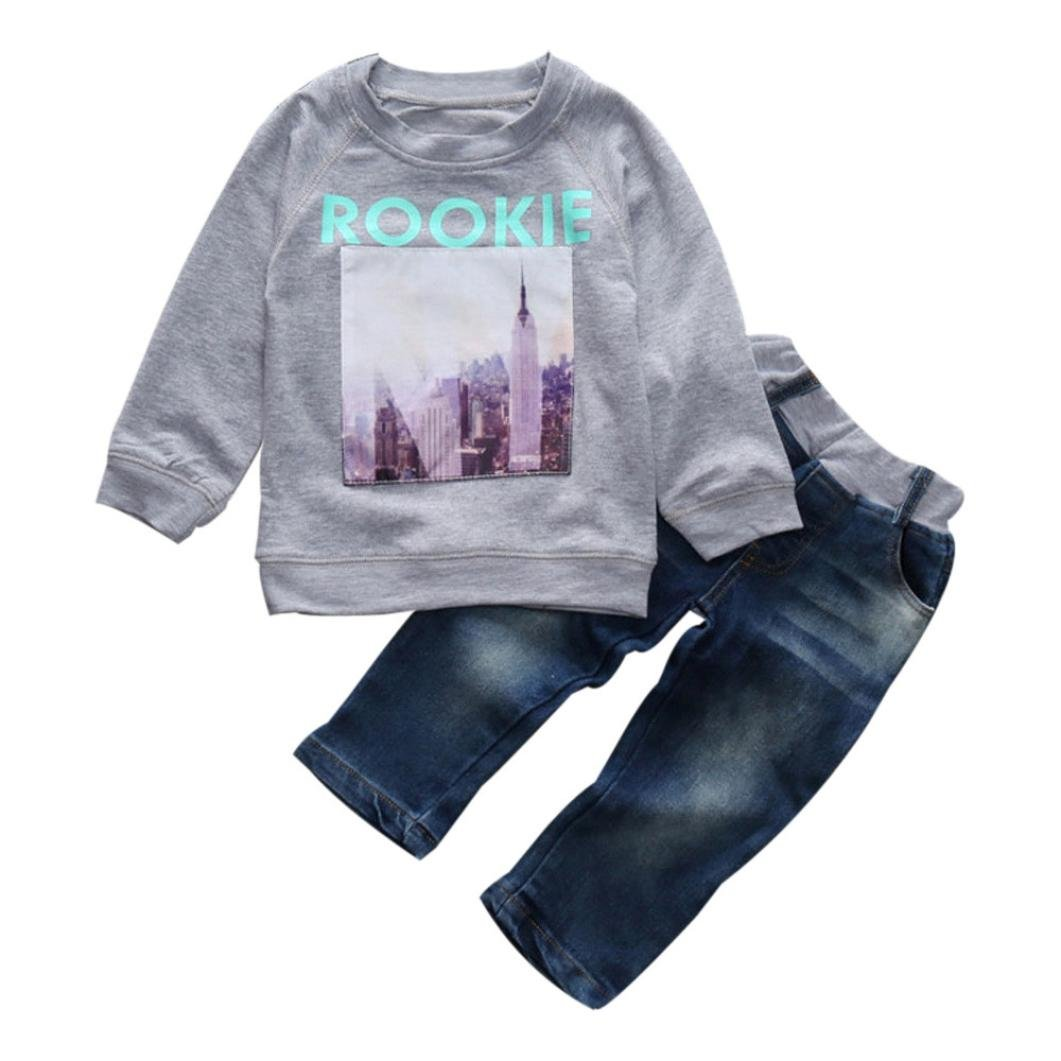 Fulltime(TM) 2-7 Years Old Boy Girl Long Sleeve T-Shirt Tops + Denim Pants Kids Clothes Outfits Sets F-2322