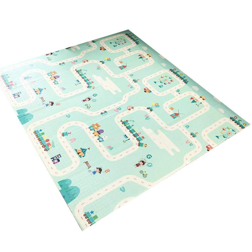 Exttlliy Folding Waterproof XPE Foam Baby Playmat Playroom Nursery Crawling Mat Floor Rug Non Slip & Reversible for Babies 6 Months + (Dreaming City)