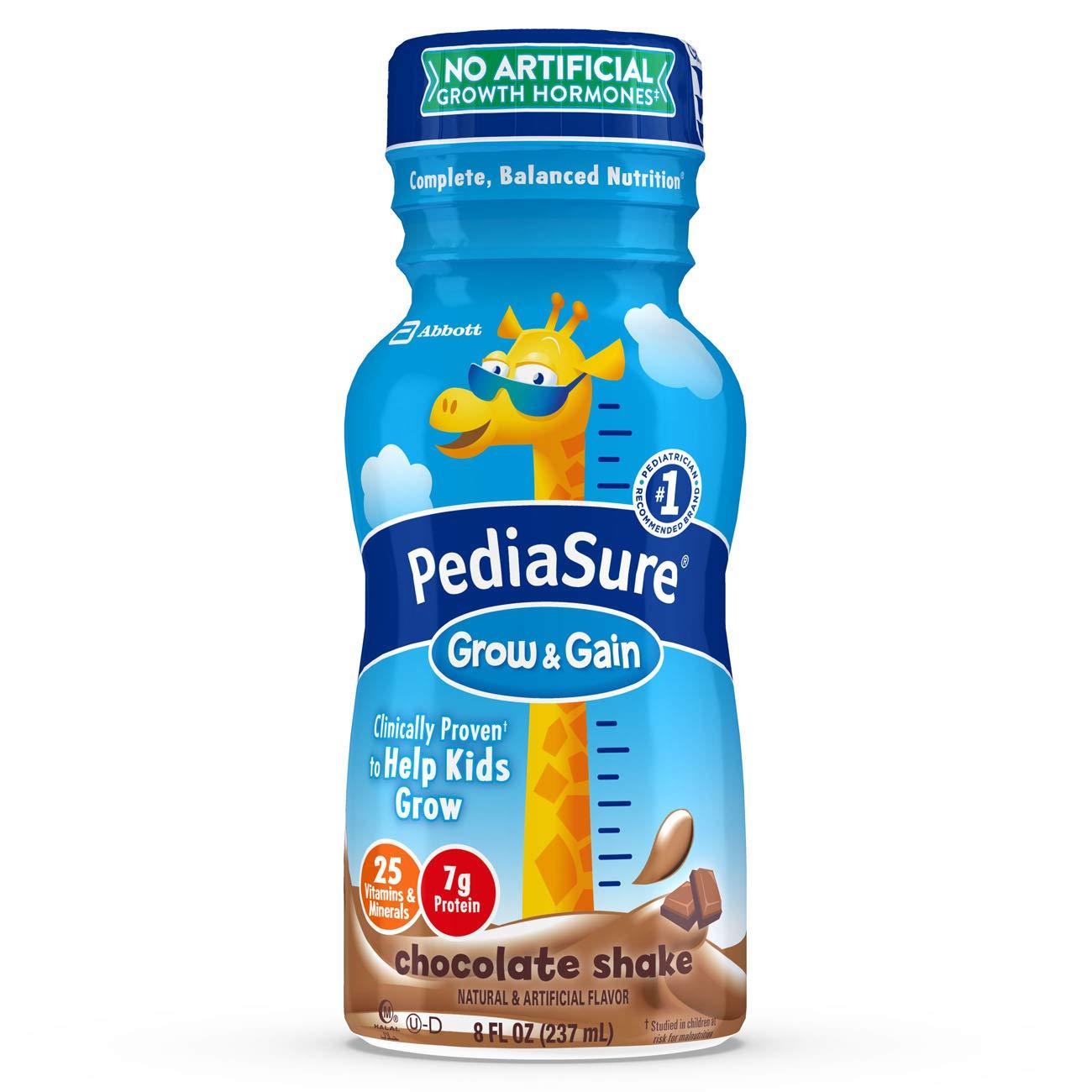 PediaSure Grow & Gain Nutrition Shake For Kids, Chocolate, 8 fl oz (Pack of 24)