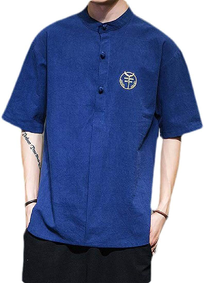 UUYUK Men Basic Chinese Style Stand Collar Button Down Short Sleeve Shirts