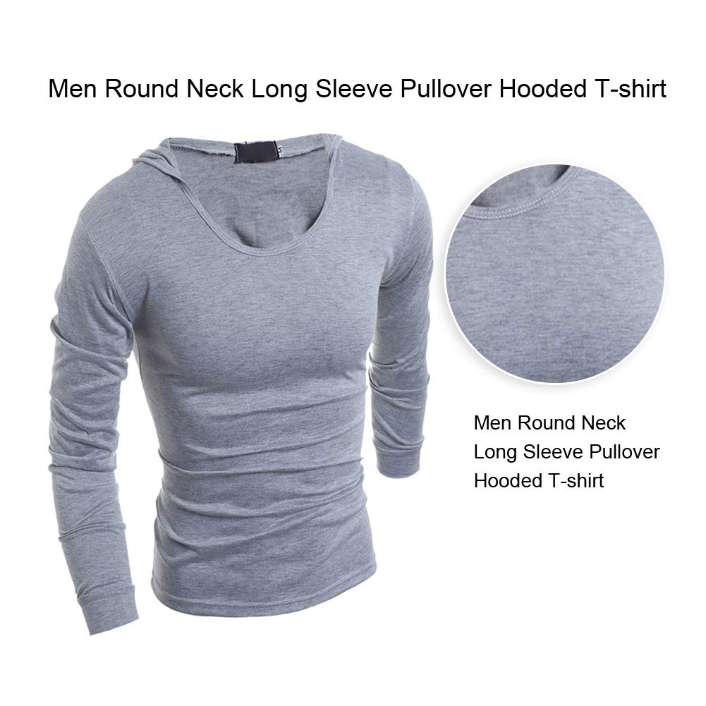 Men Slim Fit T-Shirt Casual Solid Color Round Neck Long Sleeve Pullover Hooded Top
