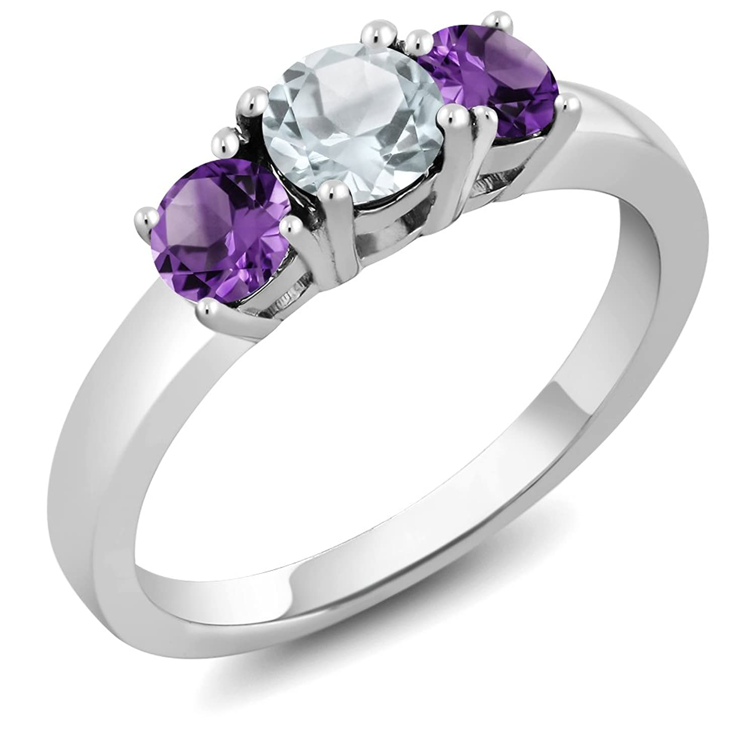 0.95 Ct Round Sky Blue Aquamarine Purple Amethyst 925 Sterling Silver 3-Stone Ring (Available in size 5, 6, 7, 8, 9)