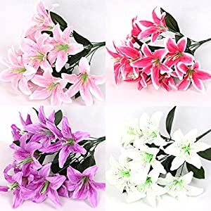"""ZJCilected 15.7"""" Full Blooming Tiger Lily Bouquet with Greenery-10 Forks for Home wedding Office Decor 112"""