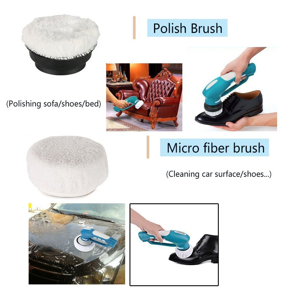 EVERTOP Electric Multi Powered Scrubber Cleaner Cleaning Tools & Electric Scrubbing Brush for Kitchen & Bathroom Bathtub + 8 Pcs Cleaning Brushes (Type - A)