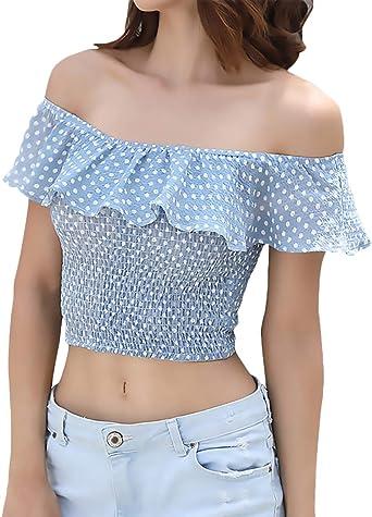 Verano Crop Tops Mujer Elegante Slim Fit Mujer Camisas Cuello De Barco Manga Corta Off Shoulder Mini Modernas Casual Estirable Casual Crop Top Moda Joven Tops Volantes Cortos Camisas Mujer: Amazon.es: Ropa