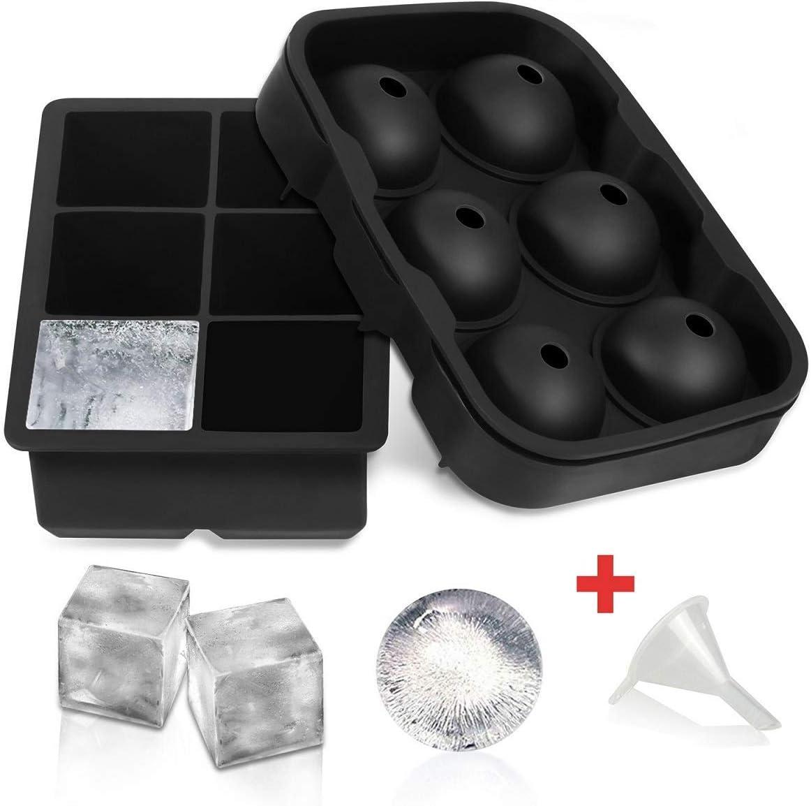 Juego de 2 bandejas para cubitos de hielo, silicona flexible SLGOL con 6 moldes cuadrados grandes de cubitos de hielo para cóctel de whisky o comida para bebé, reutilizables y sin BPA