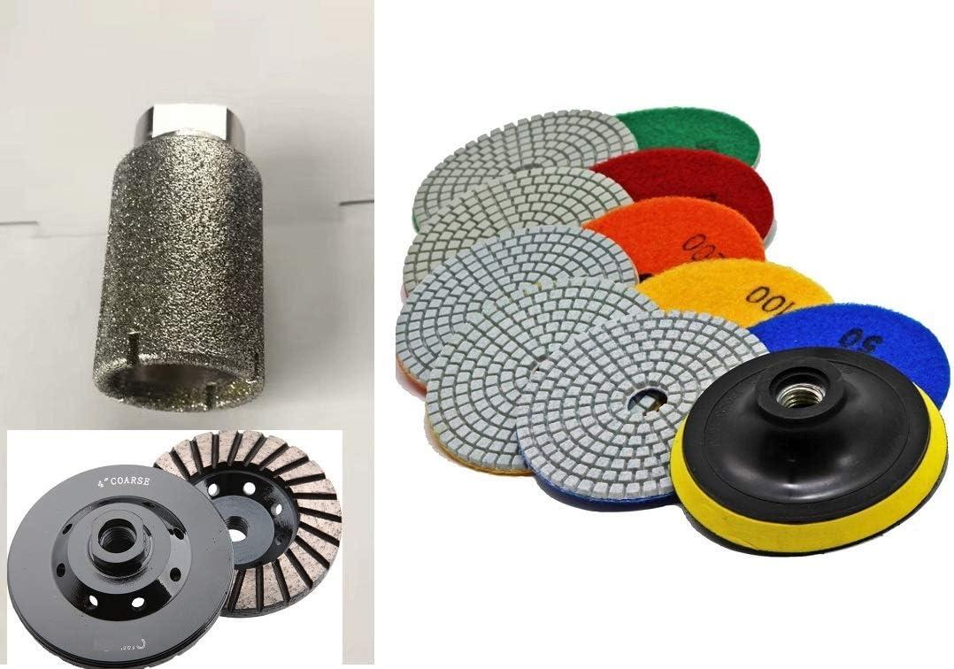 "2/"" Diamond Zero Tolerance sink hole grinding drum 2 Cup Wheel granite Concrete"