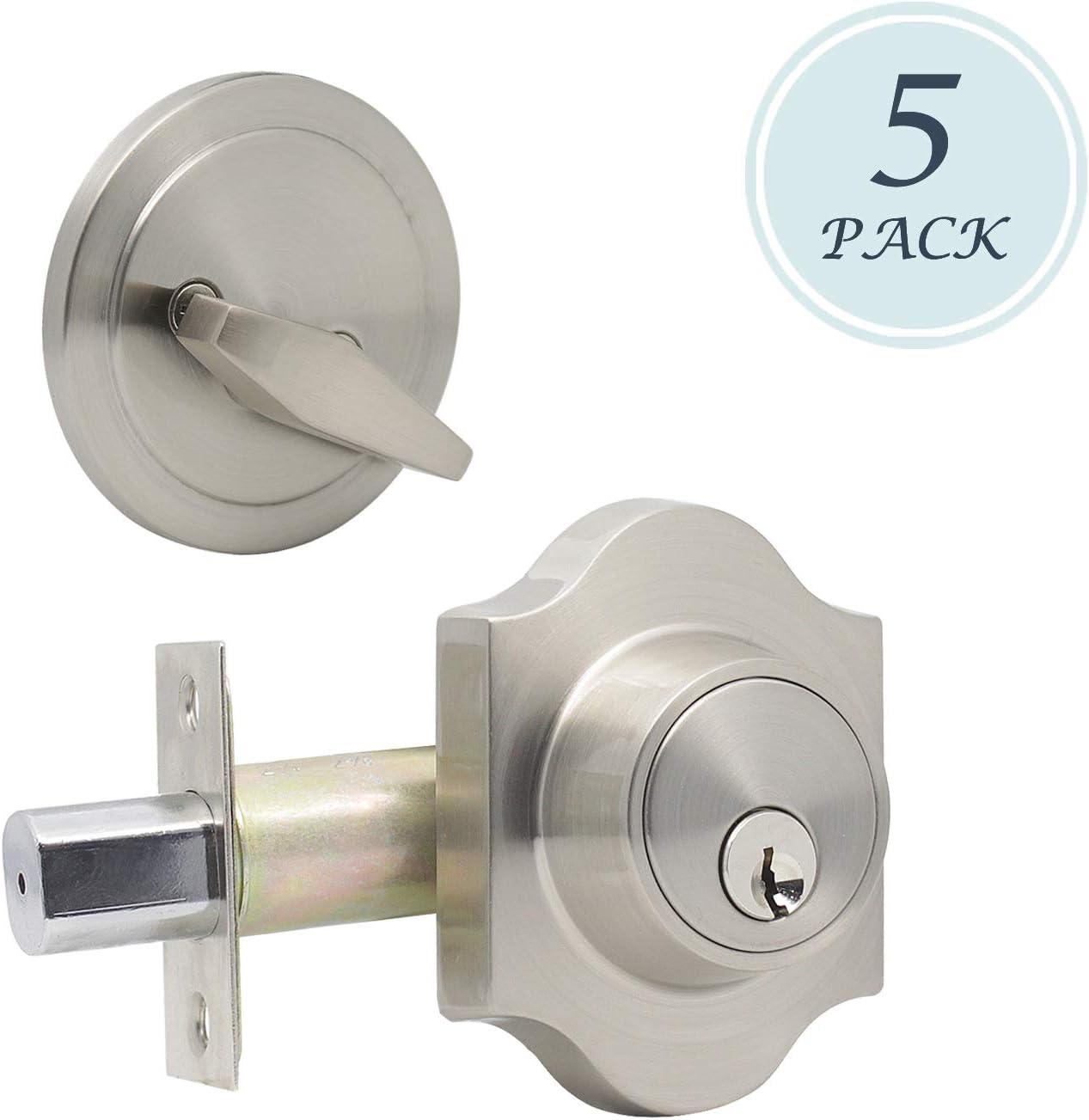 Cerradura de seguridad vintage con cerradura de seguridad para puerta con cerradura de cilindro único y botón de giro en el interior y la llave exterior acabado en níquel satinado