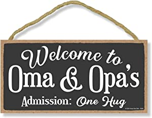 Honey Dew Gifts Welcome Wooden Hanging Signs, Welcome to Oma and Opa's, Welcome Home Signs for House, 5 inch by 10 inch Welcome Sign, Wall Art, Wood Sign, Home Decor