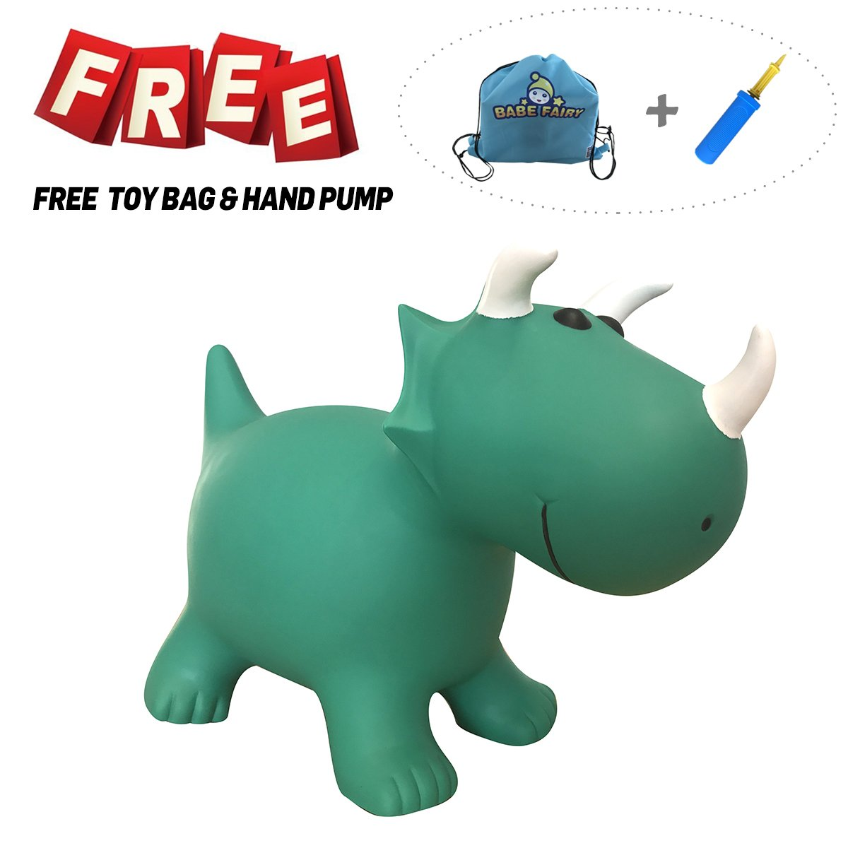 Babe Fairy Horse Hopper,Pump Included Jumping Bull Inflatable Hopping Animal Riding Horse for Kids