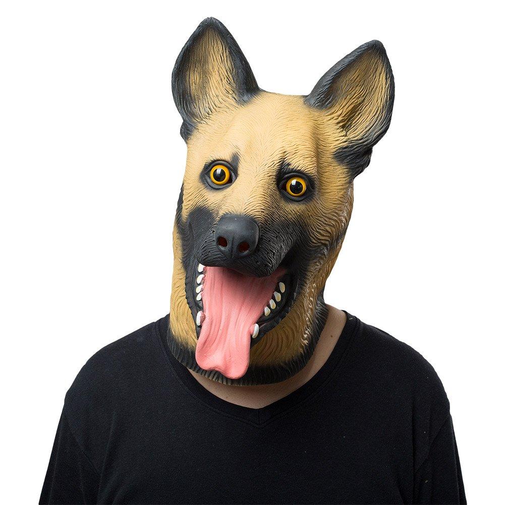 Adult Halloween Animal Dog Mask Latex Overhead Mask German Shepherd