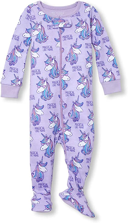 The Childrens Place Baby Girls Novelty Printed Long Sleeve Footed Sleepers
