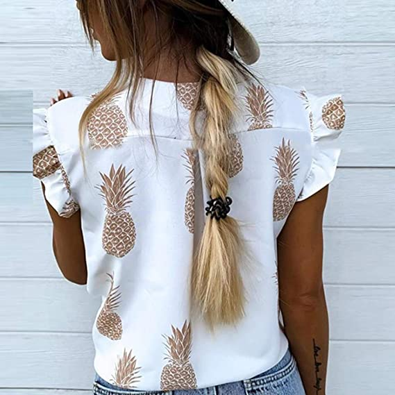 Womens Ruffle Cap Sleeve V Neck Shirt Button Down Pleated Tunic Tops Pineapple Fruit Print Loose Comfy Blouse Summer Beach Casual Tee