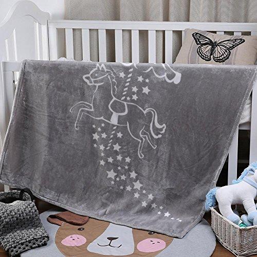 (i-baby Large Baby Blanket Ultra Soft Warm Toddler Blanket Luxury Nursery Crib Blanket Thick Cozy Kids Blanket (Grey, 43 x 55 Inch))