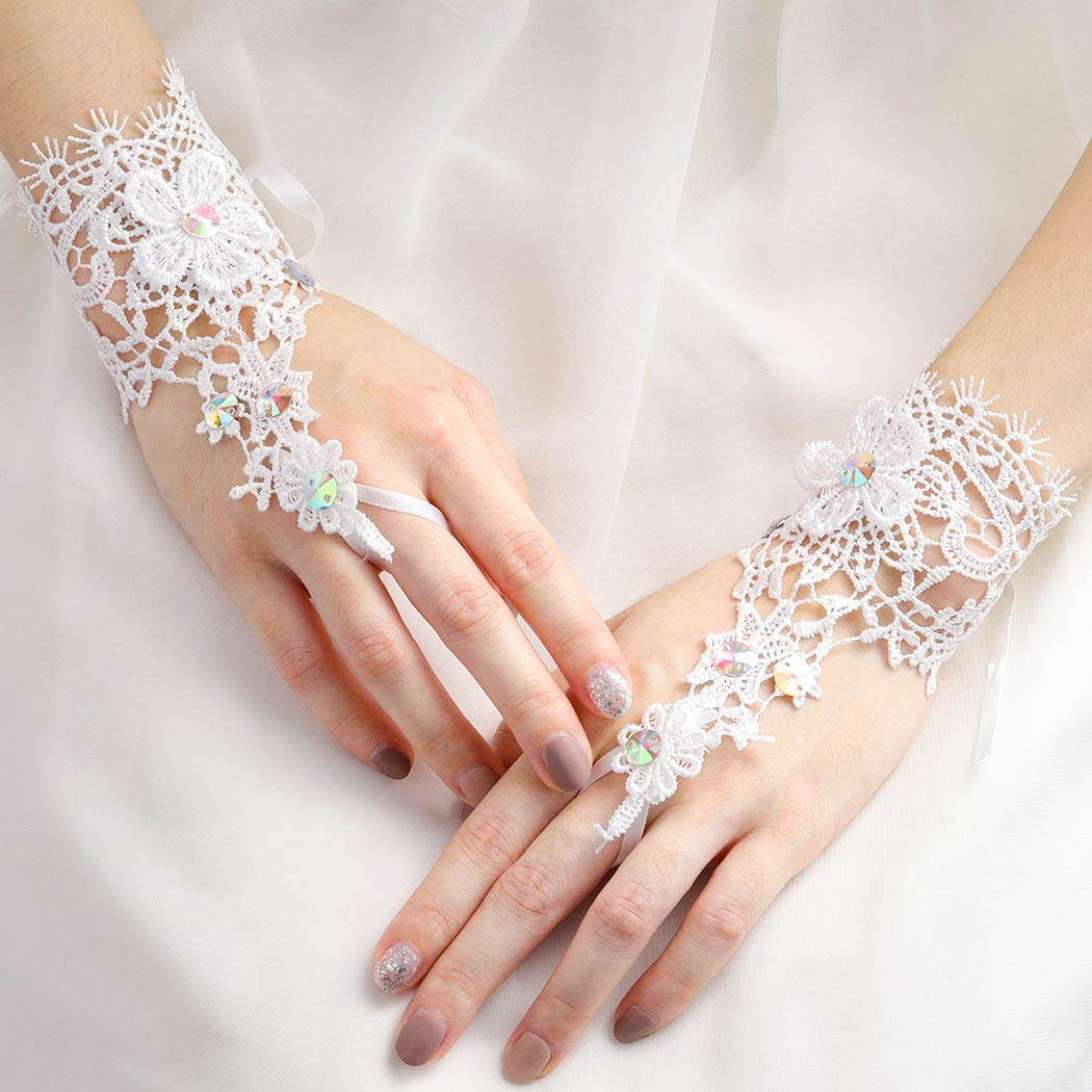 Charming Short Wedding Gloves Crystals Beaded Fingerless Lace Bridal Gloves