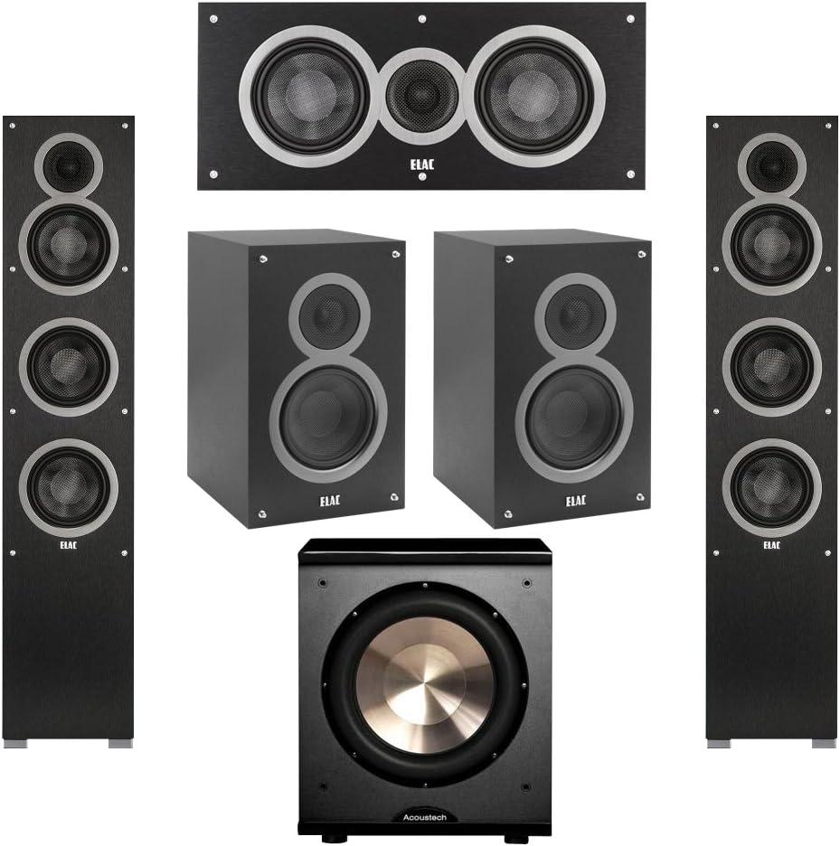 Elac 5.1 System with 2 Debut F5 Floorstanding Speakers 1 BIC//Acoustech Platinum Series PL-200 Subwoofer 2 Debut B5 Bookshelf Speakers 1 Debut C5 Center Speaker