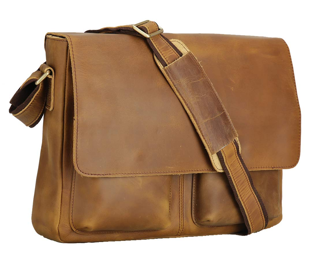 Polare Men's Retro Full Grain Leather Laptop Crossbody Messenger Shoulder Bag Satchel