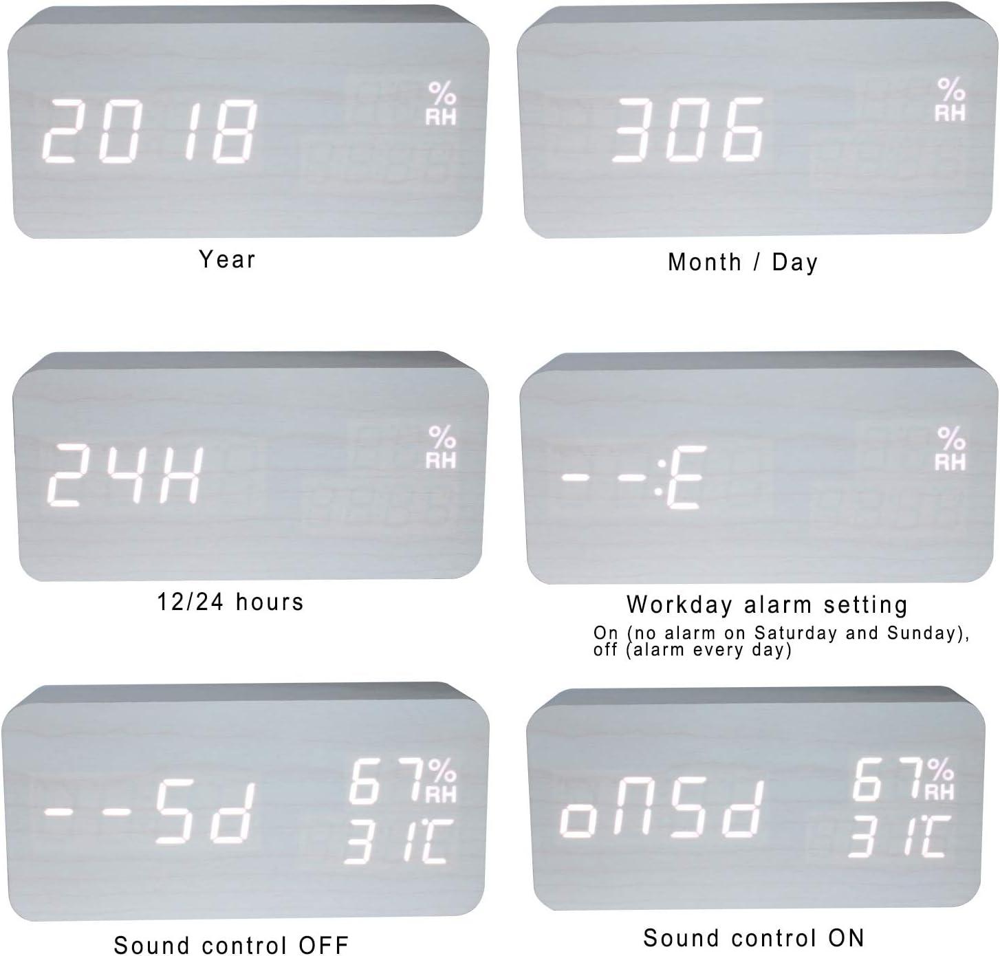 GANGHENGYU R/éveil en Bois LED Num/érique Temp/érature et humidit/é /électronique Bureau Bureau Maison Chambre Voyage Horloge avec Fonction Vocale Blanc