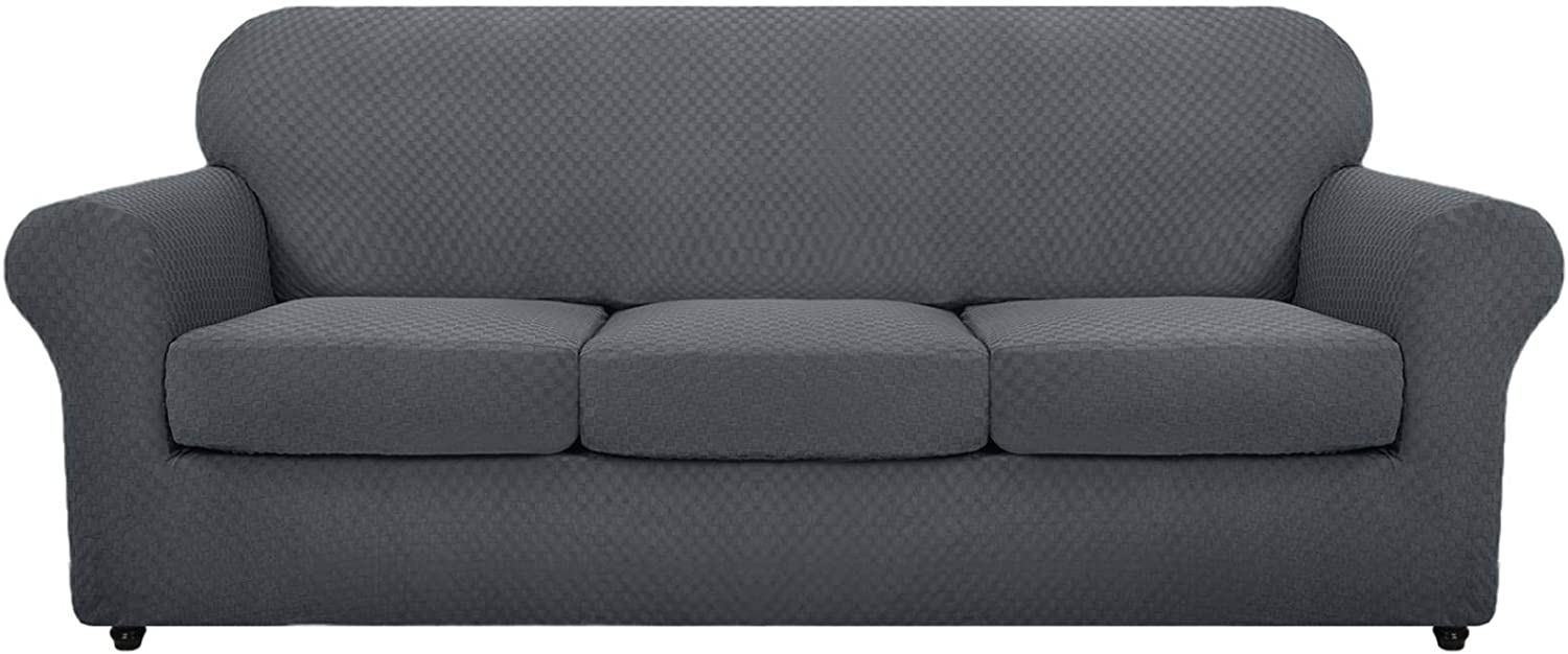 MAXIJIN 4 Piece Newest Couch Covers for 3 Cushion Couch Super Stretch Non Slip Couch Cover for Dogs Pet Friendly Elastic Jacquard Furniture Protector Sofa Slipcovers (Sofa, Dark Gray)