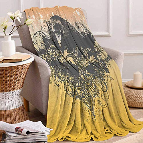 Betterull Black Throw Blanket Halloween Theme Vector Illustration of a Wicked Crow and Ornate Flowers Print Velvet Plush Throw Blanket 60x36 Inch Black and Mustard