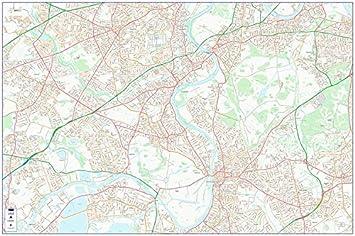 South West London Map.City Street Map South West Central London Colour Photo Paper