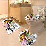 3 Piece large Contour Mat setCartoon Cute Swimming with Fish Sailor Marine Kids Cartoon Illustration Print Extralo Bathroom Rugs Contour Mat Lid Toilet Cover