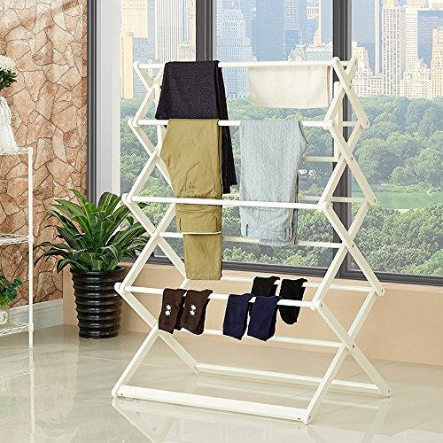 LQQGXL LQQGXLModern minimalist coat rack, Home floor drying rack double folding coat rack balcony indoor hanger (Color : White) by LQQGXL
