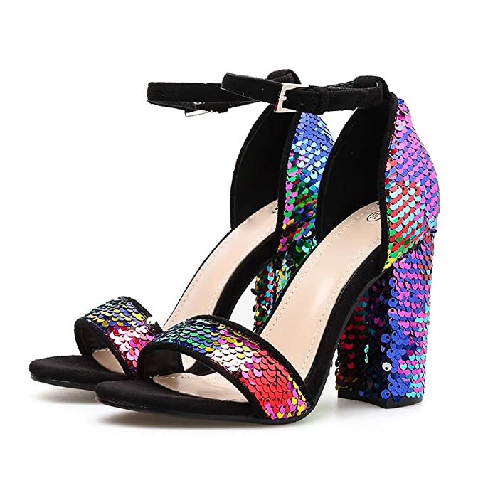 Darringls_Sandalias de Primavera Verano Mujer,Zapatos Romanos Sandalias de Damas de Mujeres Zapatos Moda Cuadrados de tacón Alto Zapatillas Pescado Boca ...