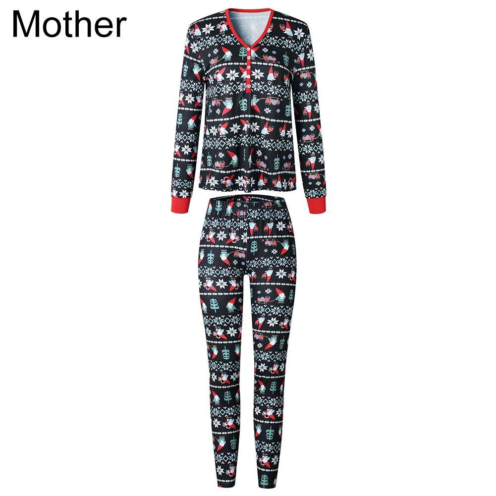 Gemini/_mall Family Matching Christmas Pajamas Sets O-Neck Long Sleeve T-Shirt Plaid Long Pants Homewear Mum Dad Kids Baby Festive Xmas Pyjamas Black Baby 1-3 Months
