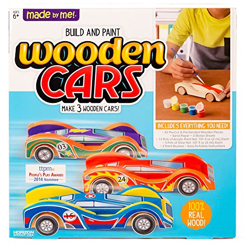 Made By Me Build & Paint Your Own Wooden Cars by Horizon Group Usa, DIY Wood Craft Kit, Easy To Assemble & Paint 3 Race Cars, Multicolored -