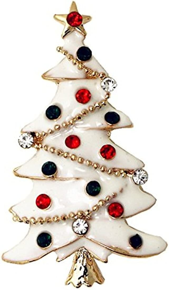 Mujer oro tono diamante esmalte blanco árbol de Navidad broche ...