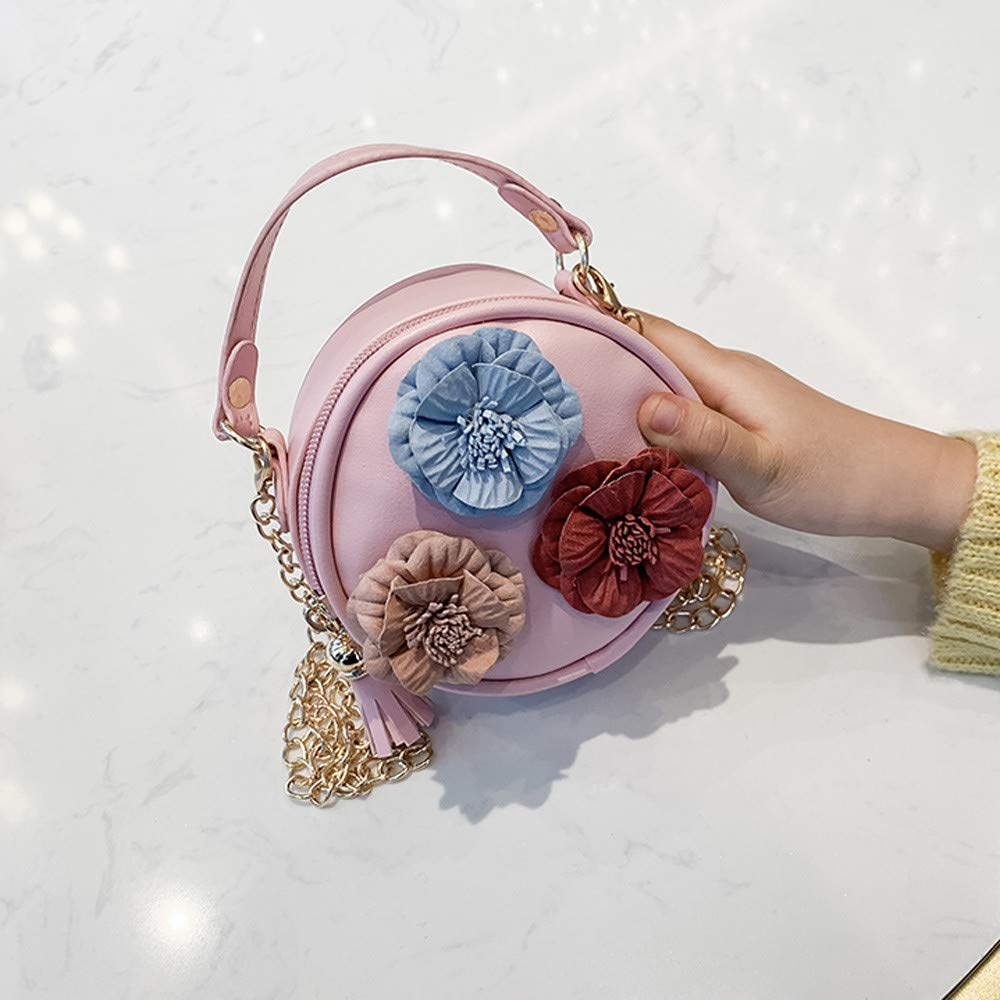 Children Flowers Leather Circular Bag Flower Tassels Shoulder Messenger Bag,Outsta 2019 Deals Fashion Bags