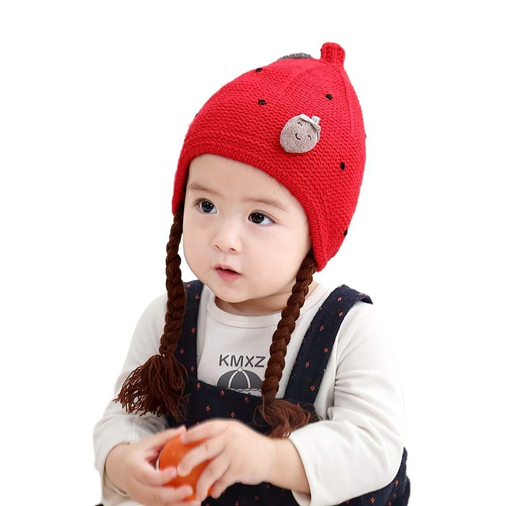 Timall Newborn Baby Girl Long Braids Knitted Hat Kids Toddler Strawberry Autumn Winter Beanie Cap
