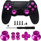 Tomsin メタル ボタン デュアル ショック 4用 アルミ メタル サムスティック アナログ グリップ & 銃弾 ボタン & Dパッド PS4コントローラ用 メタルピンク