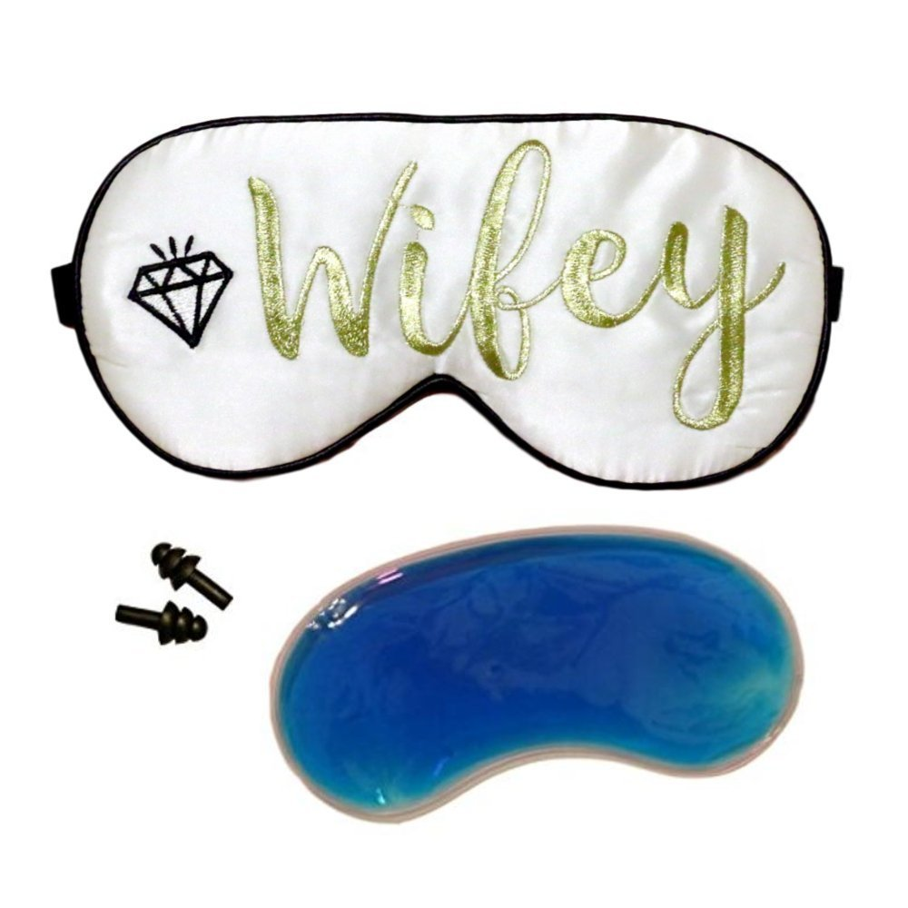 Silk Wifey Sleep Mask Travel Bridal Gift Set