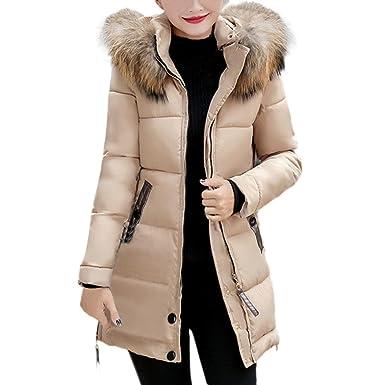 b1450f60116 BSGSH Women's Down Coat with Faux Fur Trim Hood Slim Winter Warm Long  Puffer Jacket