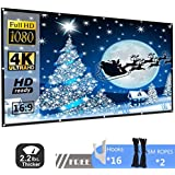 FTALGS 120 inch Projection Screen 16:9 HD Foldable Anti-Crease Portable Projector Movies Screen Home Theater Outdoor Indoor Support Double Sided Projection ,Wrinkle-Free Easy-Installation