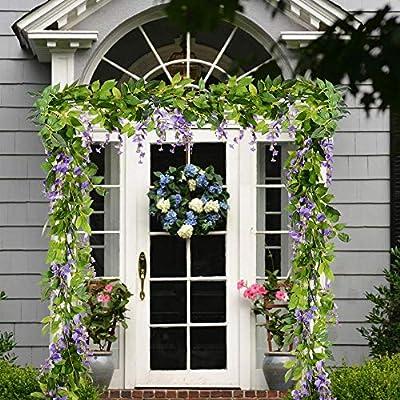 Ashine Guirnalda de flores artificiales de glicinia, flores ...