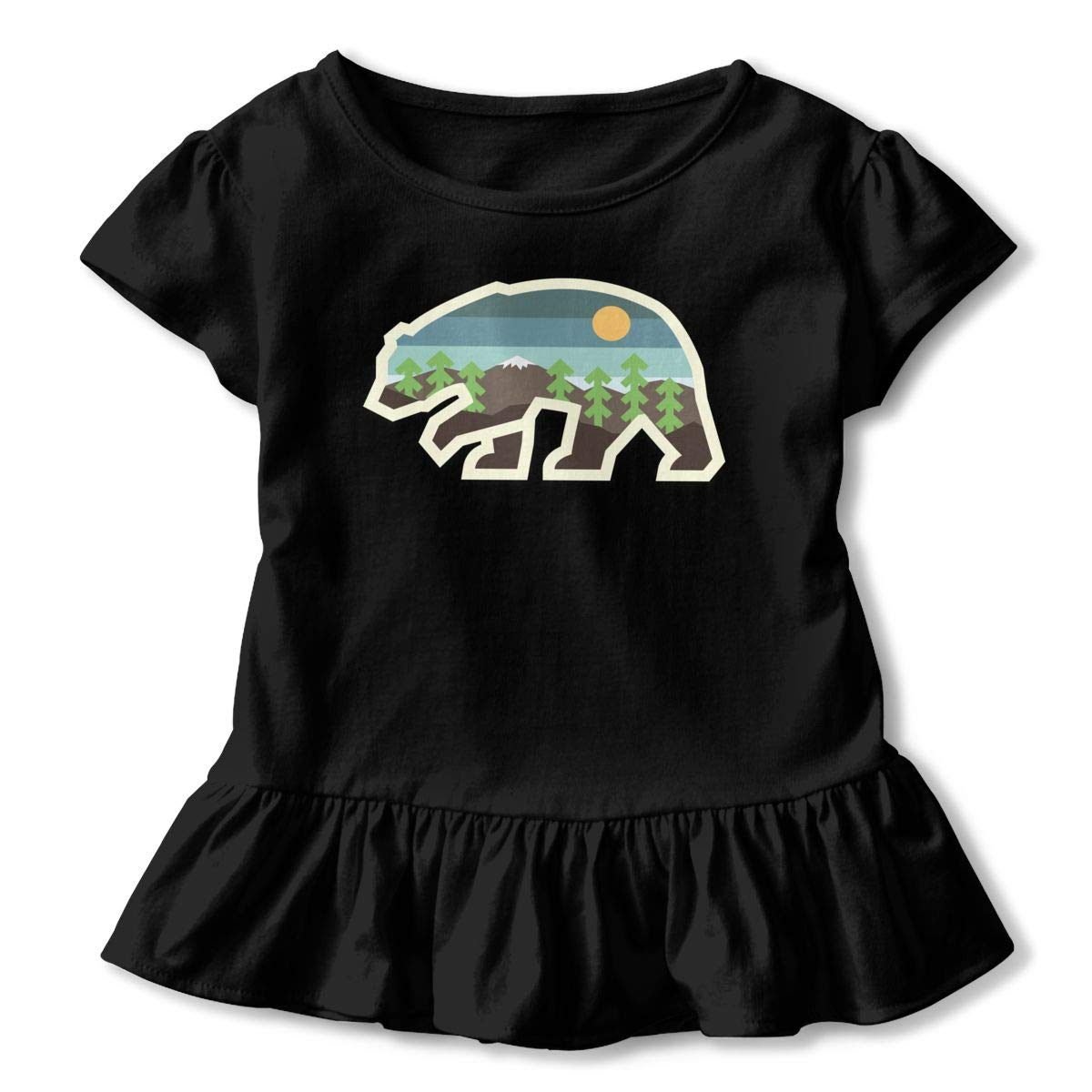 JVNSS Mountain Bear Shirt Printed Toddler//Infant Flounced T Shirts Basic Shirt for 2-6T Kids Girls