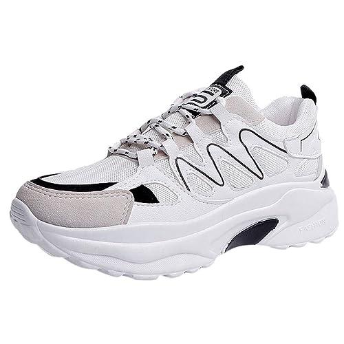 BOBOLover Zapatos Comodos Mujer Moccasins Mujer Zapatillas Plataforma Mujer Zapatos de Mujer Casuales Zapatos Deportivos con Cordones para Correr: ...