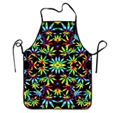 weed chef - Tie Dye Pot Leaf Weeds Unisex Cooking Kitchen Aprons Chef Apron Bib