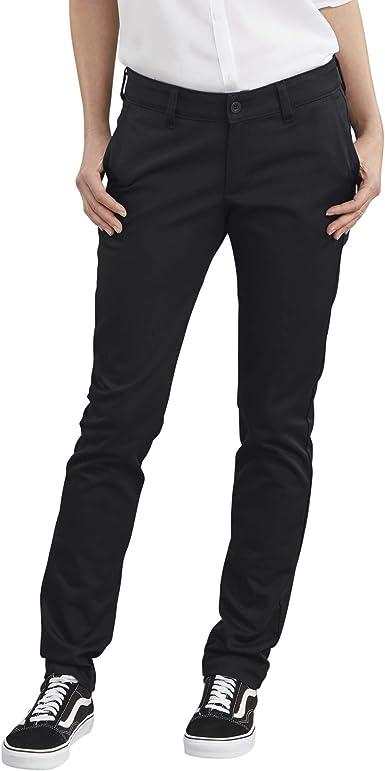 Amazon Com Dickies Pantalon De Corte Recto De Sarga Elastica Para Mujer Clothing