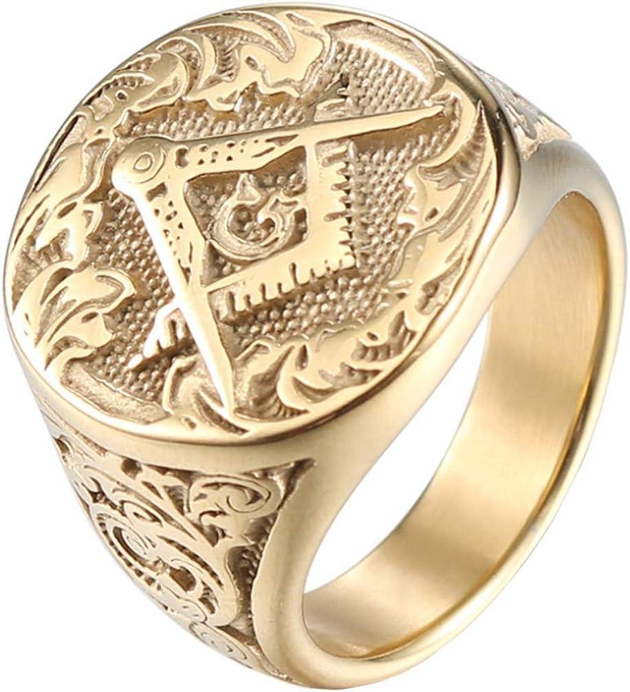IFUAQZ Men's Masonic Freemason Gold Plated Stainless Steel Rings Classic Master Mason Signet Band Jewelry