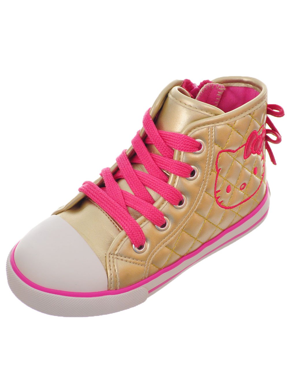Hello Kitty Girls' Hi-Top Sneakers - Gold, 6 Toddler