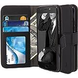 Moto E4 Plus Case, TAURI [Stand Feature] Wallet Leather Case with Card Pockets Protective Flip Cover For Motorola Moto E4 Plus / Moto E 4th Generation Plus (Not For Moto E4) - Black