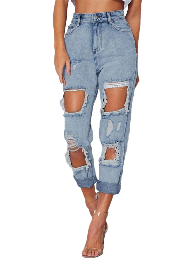 Nicetage Women's Juniors Distressed Ripped Straight Fit Boyfriend Ankle Jeans 786045 Light Blue M