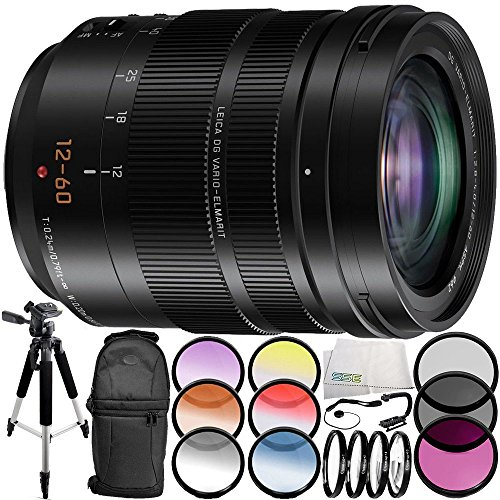 Panasonic Leica DG Vario-Elmarit 12-60mm f/2.8-4 ASPH. Power O.I.S. Lens 9PC Accessory Bundle – Includes 3 Piece Filter Kit (UV + CPL + FLD) + More (White Box) – International Version (No Warranty)