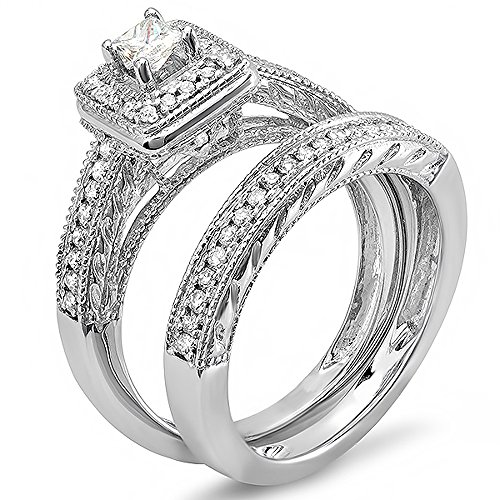 0.75 Carat (ctw) 14k White Gold Princess & Round Diamond Ladies Bridal Ring Set Halo Style Engagement Set 3/4 CT (Size 5)