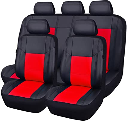 11PCS, Black and Red CAR PASS Universal FIT Piping Leather Car Seat Cover for suvs,Van,Trucks,Airbag Compatible,Inside Zipper Design and Reserved Opening Holes