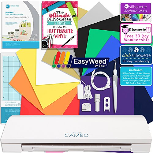 Silhouette CAMEO 3 Siser Easyweed Heat Transfer T-Shirt Bundle with 12x15 Siser Heat Transfer Material, Guide, Beginner Class, and More